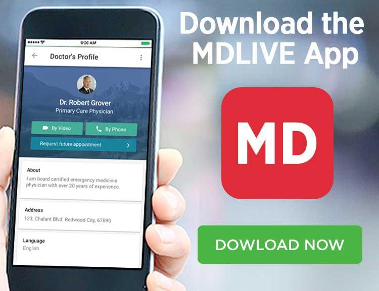 mdlive mobile app on smartphone